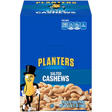 Load image into Gallery viewer, PLANTERS Salted Cashews, 1.5 oz. Bags (18 Pack) | Individually Packed Snacks On the Go | Snacks for Adults | Quick Snacks | Kosher 00029000075689 1.5 Ounce (Pack of 18)