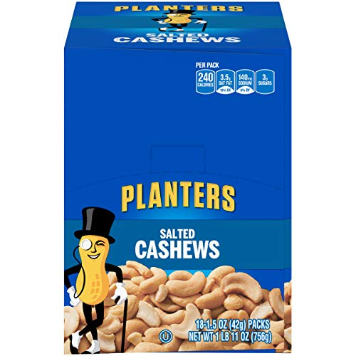 PLANTERS Salted Cashews, 1.5 oz. Bags (18 Pack) | Individually Packed Snacks On the Go | Snacks for Adults | Quick Snacks | Kosher 00029000075689 1.5 Ounce (Pack of 18)
