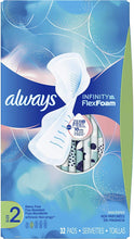 Load image into Gallery viewer, Always Infinity Feminine Pads for Women, Size 2, 96 Count, Heavy Flow Absorbency, with Wings, Unscented (32 Count, Pack of 3 - 96 Count Total)