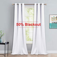 Load image into Gallery viewer, NICETOWN Long White Curtains for Patio - Home Decoration Grommet Top Drapes, White Bedroom Panels (42 inches Wide x 90 inches Long, White, 2 Panels)