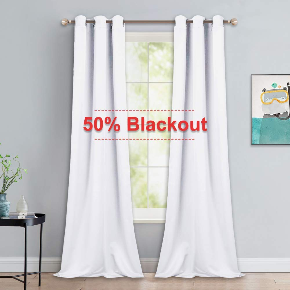 NICETOWN Long White Curtains for Patio - Home Decoration Grommet Top Drapes, White Bedroom Panels (42 inches Wide x 90 inches Long, White, 2 Panels)