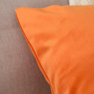 MIULEE Pack of 2 Velvet Pillow Covers Decorative Square Pillowcase Soft Solid Cushion Case for Sofa Bedroom Car 26 x 26 Inch Orange