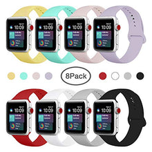 Load image into Gallery viewer, ENANYN Compatible Apple Watch Band 38mm 40mm 42mm 44mm Soft Silicone Sport Wrist Strap iWatch Replacement Wristbands for Apple Watch Series 4,3,2,1 S/M,M/L (Colors, 38mm/40mm S/M.) Colorful