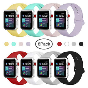 ENANYN Compatible Apple Watch Band 38mm 40mm 42mm 44mm Soft Silicone Sport Wrist Strap iWatch Replacement Wristbands for Apple Watch Series 4,3,2,1 S/M,M/L (Colors, 38mm/40mm S/M.) Colorful