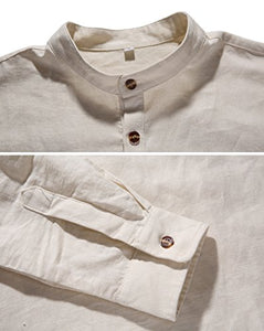 NITAGUT Men's Cotton Linen Blend Shirts , 01 Beige , US M/Chest 38-41 NT4011-Beige-M Medium