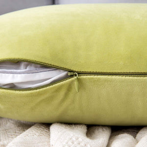 MIULEE Pack of 2 Velvet Pillow Covers Decorative Square Pillowcase Soft Solid Cushion Case for Sofa Bedroom Car 22 x 22 Inch Chartreuse Green