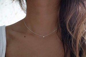 Moon Baby Jewelry Silver Dainty Diamond Choker Necklace - Diamond Choker Necklace - 925 Sterling Silver Choker necklace - Handmade Minimalist jewelry - Tiny Diamond