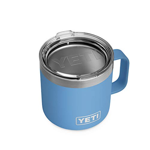 YETI Rambler 14 oz Mug, Stainless Steel, Vacuum Insulated with Standard Lid, Pacific Blue 1 Count