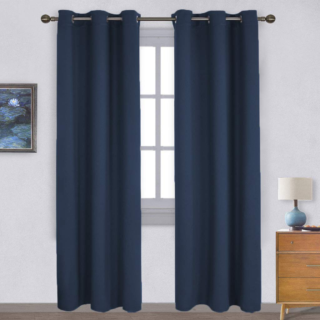 NICETOWN Window Treatment Energy Saving Thermal Insulated Solid Grommet Blackout Curtains/Drapes for Living Room (Navy, 1 Pair, 42 by 84-Inch)