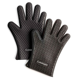 Cuisinart CGM-520 Heat Resistant Silicone Gloves, Black (2-Pack)