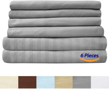 Load image into Gallery viewer, Sweet Home Collection Quality Deep Pocket Bed Sheet Set 2 EXTRA PILLOW CASES, VALUE, Queen, Dobby Silver, 6 Piece