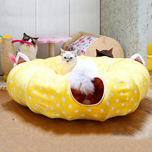 "Load image into Gallery viewer, HOMEYA Cat Dog Tunnel Bed with Mat, Metacrafter Collapsible 3 Way Cat Tube Condo Play Toy with Peek Hole Fun Ball Indoor Outdoor Interactive Hideout Exercising House Toys for Pet Kittens Kitty Puppy 8FT 98""x10""x10"" Yellow"