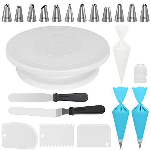Kootek Cake Decorating Kits Supplies with Cake Turntable, 12 Numbered Cake Decorating Tips, 2 Icing Spatula, 3 Icing Smoother, 2 Silicone Piping Bag, 50 Disposable Pastry Bags and 1 Coupler KD062 Medium
