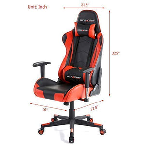 GTRACING Gaming Chair Racing Office Computer Game Chair Ergonomic Backrest and Seat Height Adjustment Recliner Swivel Rocker with Headrest and Lumbar Pillow E-Sports Chair Red A-red