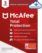 Load image into Gallery viewer, McAfee Total Protection - 3 Devices, 1 Year Subscription with Auto Renewal [Subscription]
