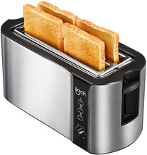 Load image into Gallery viewer, IKICH 4 Slice Long Slot Toaster Prime Rated, Stainless Steel Bread Toasters(Warming Rack, 6 Bread Shade Settings, Defrost/Reheat/Cancel Function, Extra Wide Slots, Removable Crumb Tray, 1300W)