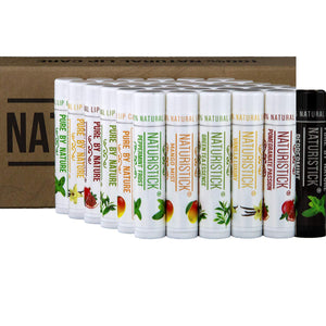 All-Natural Beeswax Lip Balm Gift Set by Naturistick. Pack of 36 in Counter Display Box. Made with Healing Aloe Vera, Vitamin E, Coconut Oil. Best Beeswax Chapstick in Bulk. Made in USA