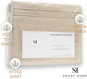 1500 Supreme Collection Extra Soft Full Sheets Set, Beige - Luxury Bed Sheets Set with Deep Pocket Wrinkle Free Hypoallergenic Bedding, Over 40 Colors, Full Size, Beige