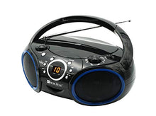 Load image into Gallery viewer, SINGING WOOD Portable CD Player AM FM Analog Tuning Radio with Aux Line in, Headphone Jack, Foldable Carrying Handle (Black with a Touch of Blue Rims) SBX030C-BU