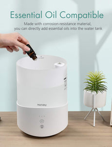 Homasy Cool Mist Humidifier, 2.5L Essential Oil Humidifiers with 7-Color Mood Lights, Top Fill Humidifier for Bedroom, Baby Humidifier with Adjustable Mist Output, Sleep Mode, Auto Shut Off