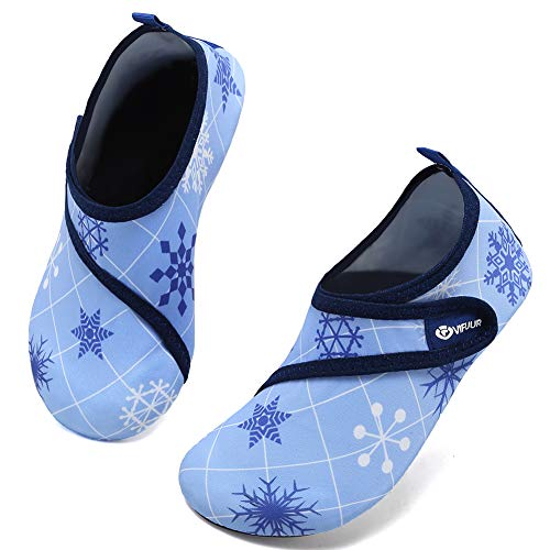 VIFUUR Kids Water Shoes Girls Boys Quick Dry Aqua Socks for Beach Swim Outdoor Sports Blue/Snowflake 22/23 Kids-Magic-Blue/Snowflake-22/23 6-7 Toddler