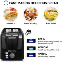 Load image into Gallery viewer, Toasts 2 Slice Toasts Best Rated Prime Evenly And Quickly Stainless Steel Black Bagel Toaster With 2 Wide Slots 7 Shade Settings and Removable Crumb Tray for Bread Waffles