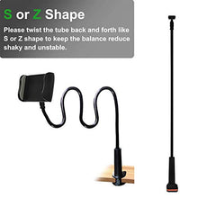 Load image into Gallery viewer, MAGIPEA Cell Phone Clip on Stand Holder - with Grip Flexible Long Arm Gooseneck Bracket Mount Clamp for iPhone X/8/7/6/6s/5 Samsung S8/S7, used for bed, desktop, Black ZJ10-1