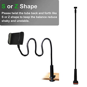 MAGIPEA Cell Phone Clip on Stand Holder - with Grip Flexible Long Arm Gooseneck Bracket Mount Clamp for iPhone X/8/7/6/6s/5 Samsung S8/S7, used for bed, desktop, Black ZJ10-1