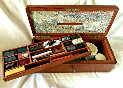 Antique CROWN STATIONARY OFFICE Watercolor ARTIST BOX with 12 PALETTES. c.1820's