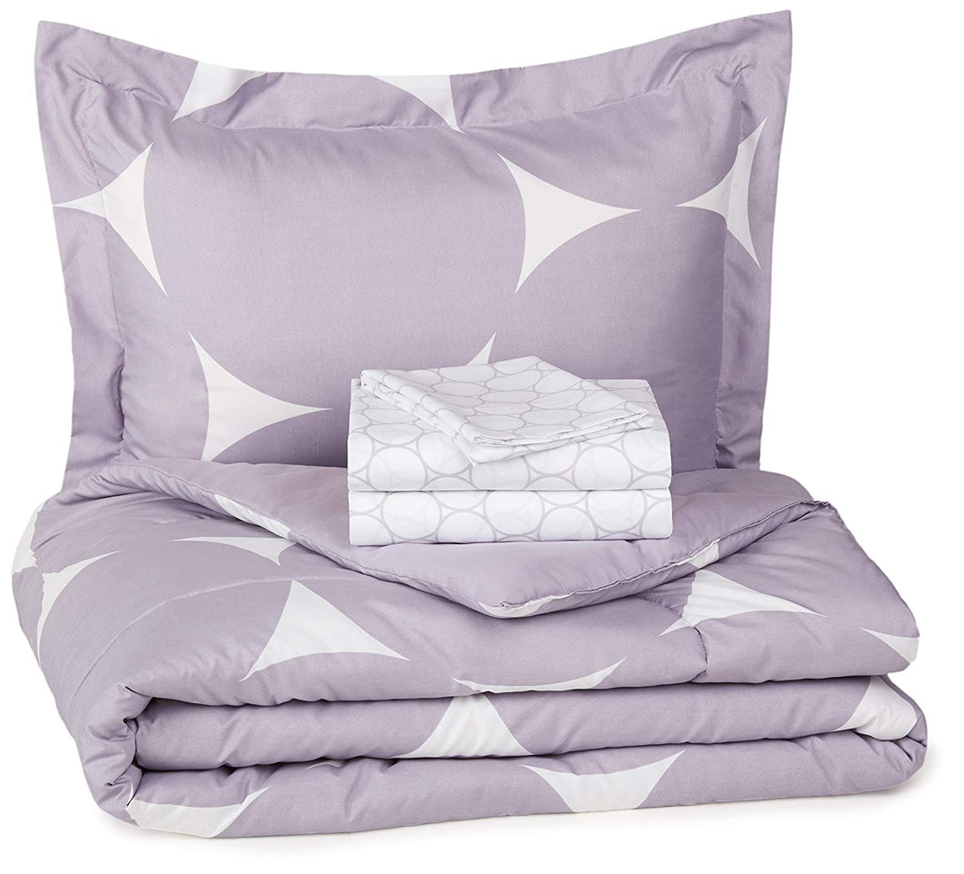 Basics 5-Piece Bed-In-A-Bag Comforter Bedding Set - Twin or Twin XL, Purple Mod Dot, Microfiber, Ultra-Soft