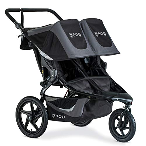 BOB Gear Revolution Flex 3.0 Duallie Double Jogging Stroller | Smooth Ride Suspension + Easy Fold + Adjustable Handlebar, Graphite Black [New Logo] U231947