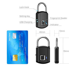 Load image into Gallery viewer, BESDERSEC Fingerprint Padlock, Outdoor Smart Biometric Thumbprint Keyless Lock, One Touch Unlock Portable USB Rechargeable Anti Theft School Lock, for Gym Suitcase Backpack Luggage Door Office - Elegant Black