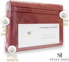 Load image into Gallery viewer, 1500 Supreme Collection Extra Soft Split King Sheets Set, Burgundy - Luxury Bed Sheets Set with Deep Pocket Wrinkle Free Hypoallergenic Bedding, Over 40 Colors, Split King Size, Burgundy