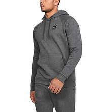 Load image into Gallery viewer, Under Armour Men's Rival Fleece Pullover Hoodie, Grey (Charcoal Light Heath/Black), Small 1320736 Charcoal Light Heather (020)/Black