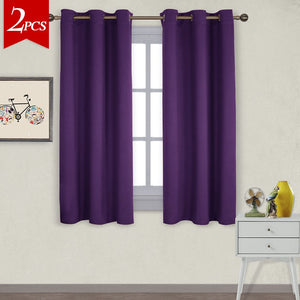 NICETOWN Triple Weave Home Decoration Thermal Insulated Solid Ring Top Blackout Curtains/Drapes for Bedroom(Set of 2,42 x 63 Inch,Royal Purple)