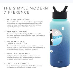 Simple Modern 84 oz Summit Water Bottle with Straw Lid - Hydro Vacuum Insulated Flask Double Wall Half Gallon Chug Jug - 18/8 Stainless Steel Ombre: Pacific Dream