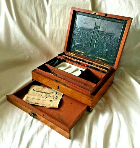 Antique J.NEWMAN'S MANUFACTORY Artist BOX with 12 WATERCOLOR BLOCKS. Circa 1830s