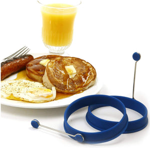 Norpro Grip-EZ Flexible Pancake Spatula with Silicone Round Pancake/Egg Rings (2 Pieces)