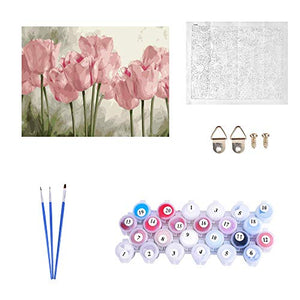 Kimily DIY Paint by Numbers for Adults Kids Tulip Paint by Numbers DIY Painting Acrylic Paint by Numbers Painting Kit Home Wall Living Room Bedroom Decoration Pink Tulips
