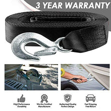 "Load image into Gallery viewer, Seamander Boat Winch Strap with Hook and Safety Latch - Loop End - 2"" x 20' -5,000lbs (Black(20ft))"