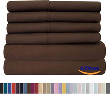 Load image into Gallery viewer, Sweet Home Collection Bed 6 Piece 1500 Thread Count Deep Pocket Sheet Set - 2 EXTRA PILLOW CASES, VALUE, Queen, Brown