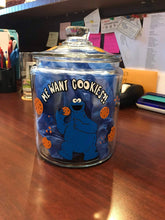 Load image into Gallery viewer, Cookie Jar Vinyl Decal DIY cookie jar decor comes with Cookie Monster, writing, cookies and crumbs decal only