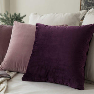 MIULEE Pack of 2 Velvet Pillow Covers Decorative Square Pillowcase Soft Solid Cushion Case for Sofa Bedroom Car 24 x 24 Inch 60 x 60 cm Eggplant Purple