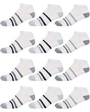 Load image into Gallery viewer, Nautica Mens Stretch Comfort Cushioned Athletic Performance Lowcut Socks With Moisture Control (12 Pack) (Shoe Size: 6-12.5, White Striped)'