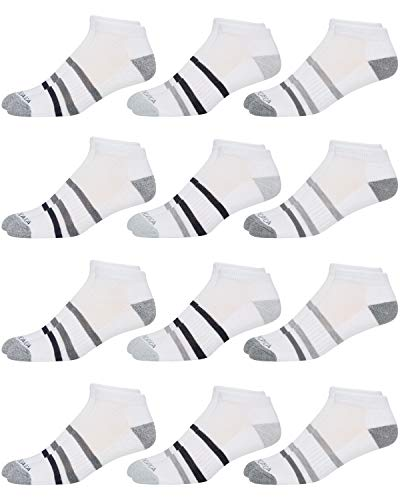 Nautica Mens Stretch Comfort Cushioned Athletic Performance Lowcut Socks With Moisture Control (12 Pack) (Shoe Size: 6-12.5, White Striped)'