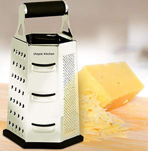 Utopia Kitchen Cheese Grater for Kitchen Stainless Steel 6-Sides - Easy to Use and Non-Slip Base UK0081 Silver