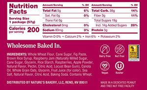 Nature's Bakery Whole Wheat Fig Bars, Raspberry, 1- 12 Count Box of 2 oz Twin Packs (12 Packs), Vegan Snacks, Non-GMO 1501080090 12 Count (Pack of 1)