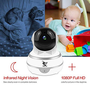 LIDELE Wireless IP Security Smart Camera, Nanny Camera, 1080P WiFi Home Surveillance Camera Indoor Dome Camera, Motion Tracker, Auto-Cruise, Night Vision, Two-Way Talk Elder/Pet/Office/Baby F3