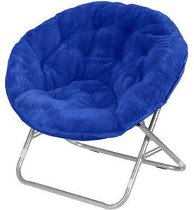 Urban Shop Faux Fur Saucer Chair with Metal Frame, One Size, Teal Vase (Royal Blue)