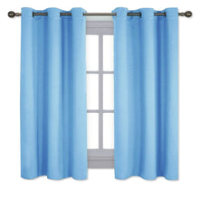 Load image into Gallery viewer, NICETOWN Home Fashion Thermal Insulated Solid Grommet Blackout Curtain Panels for Bedroom (1 Pair,42 inches Wide by 63 inches Long,Blue)